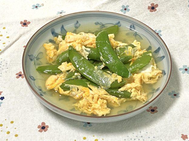 スナップエンドウの卵とじ